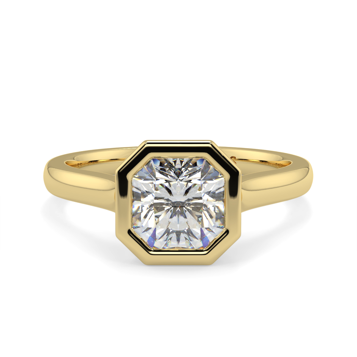 Assher  Rubover Solitaire Ring