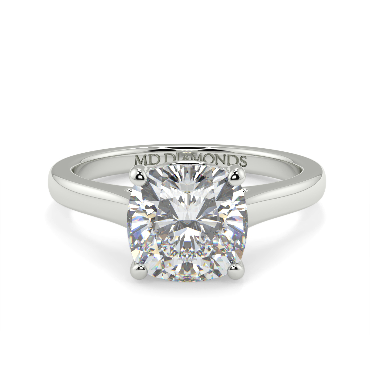 Cushion 4 Claw Wed Fit Solitaire Ring
