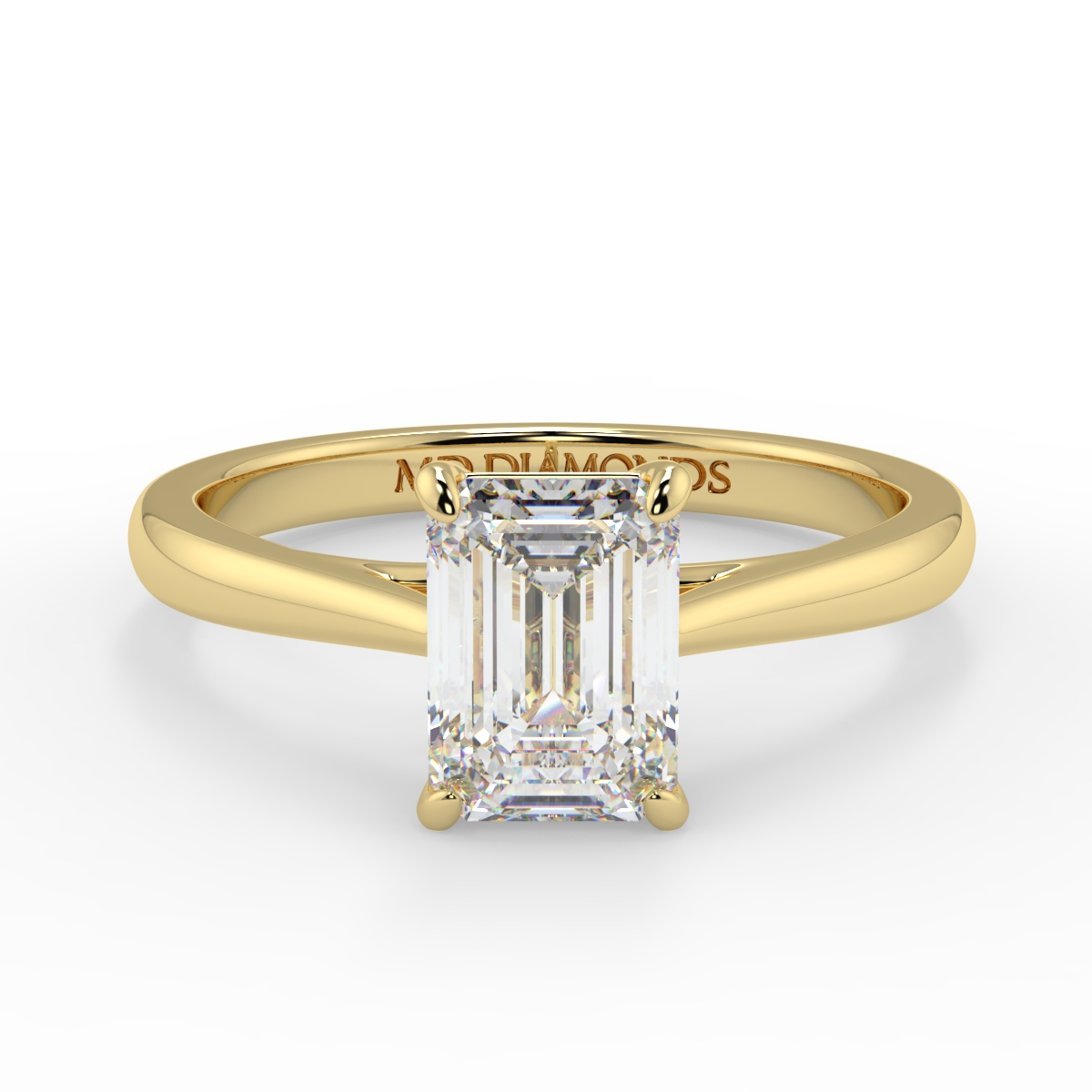 Emerald 4 Claw Tappered Band Solitaire Ring