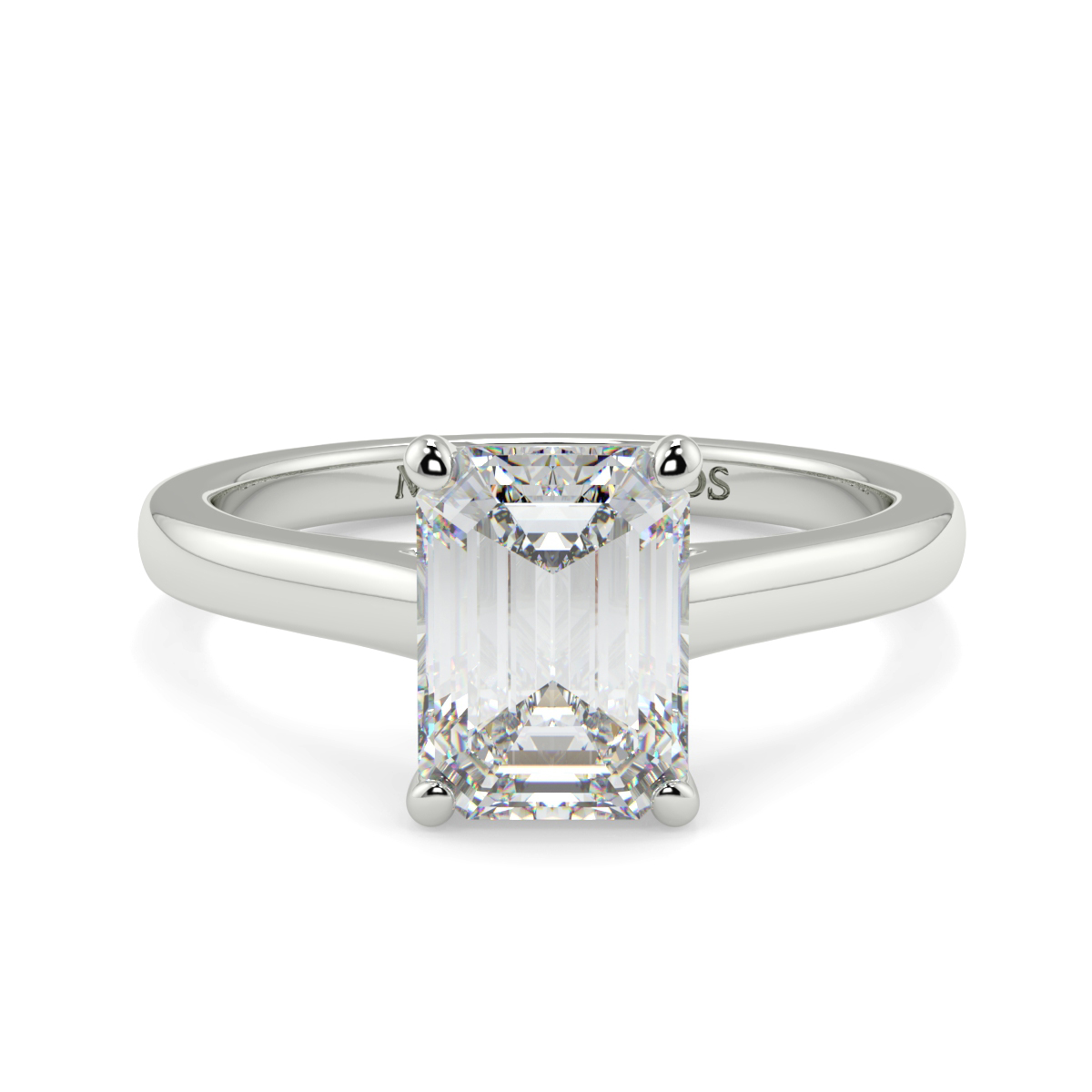 Emerald 4 Claw Wed Fit Solitaire Ring