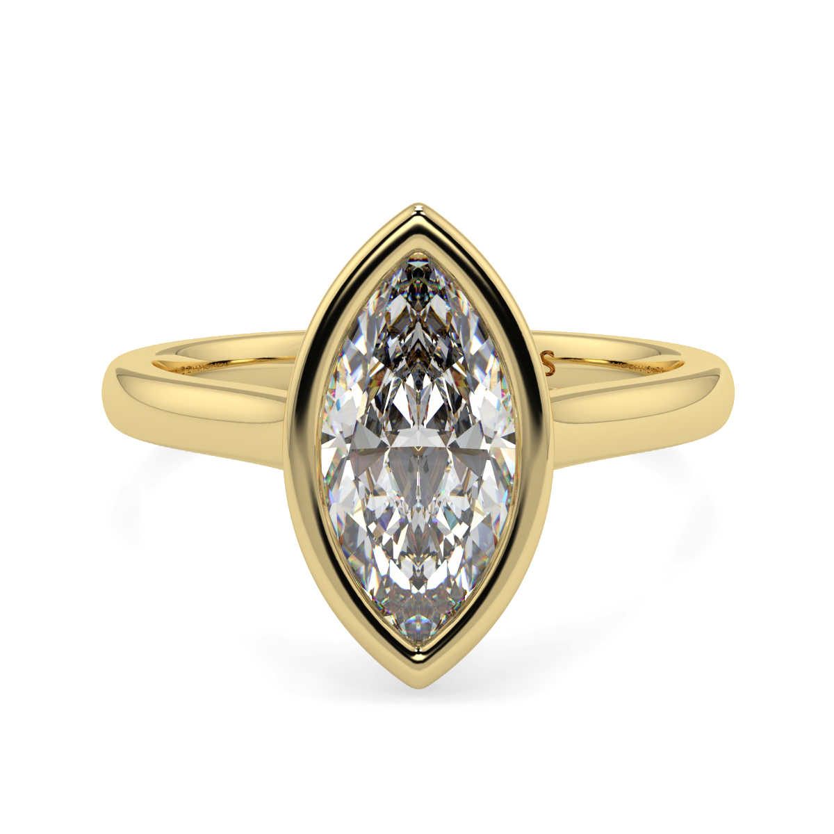 Solitaire Rubover Marquise Ring