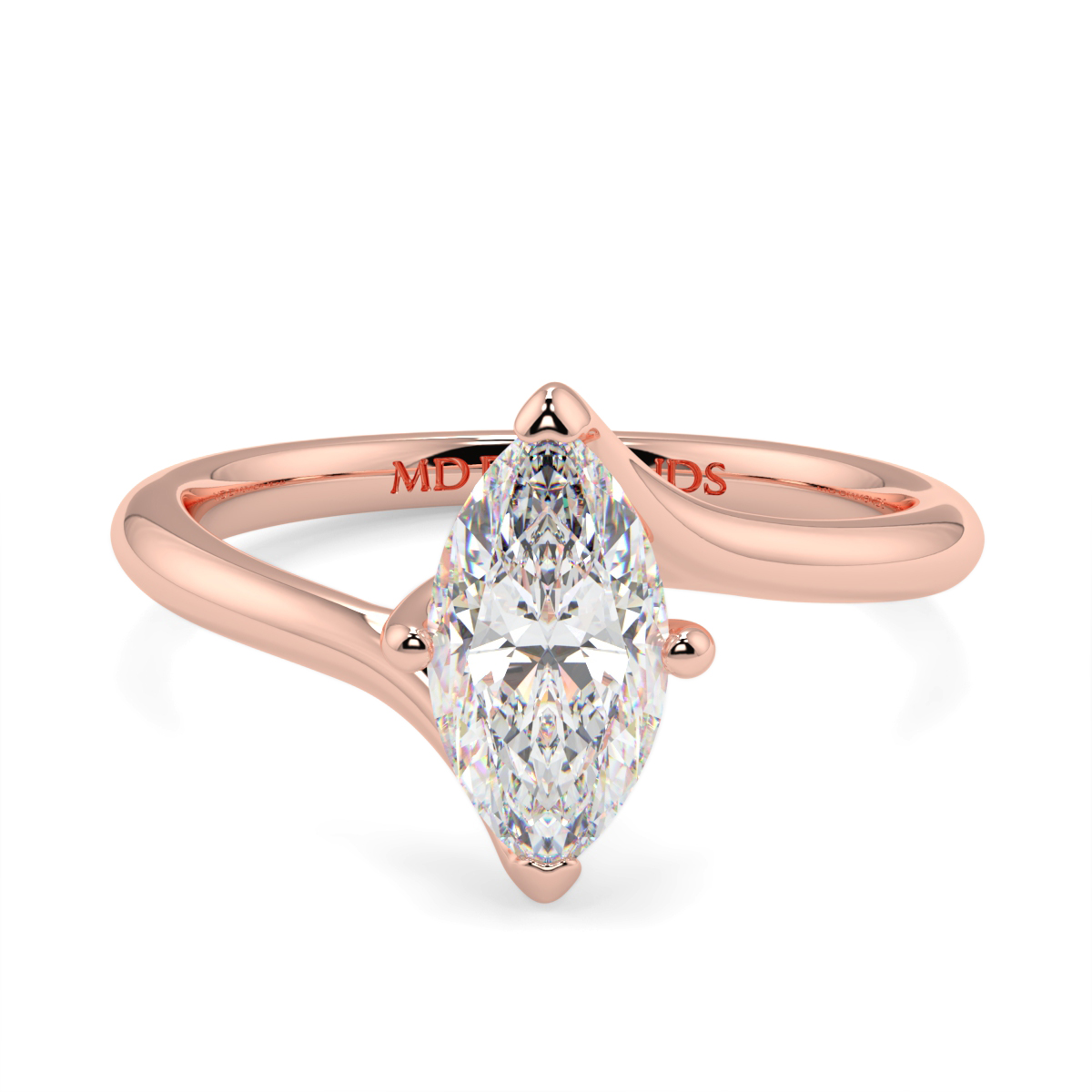 Solitaire Twist Marquise Ring