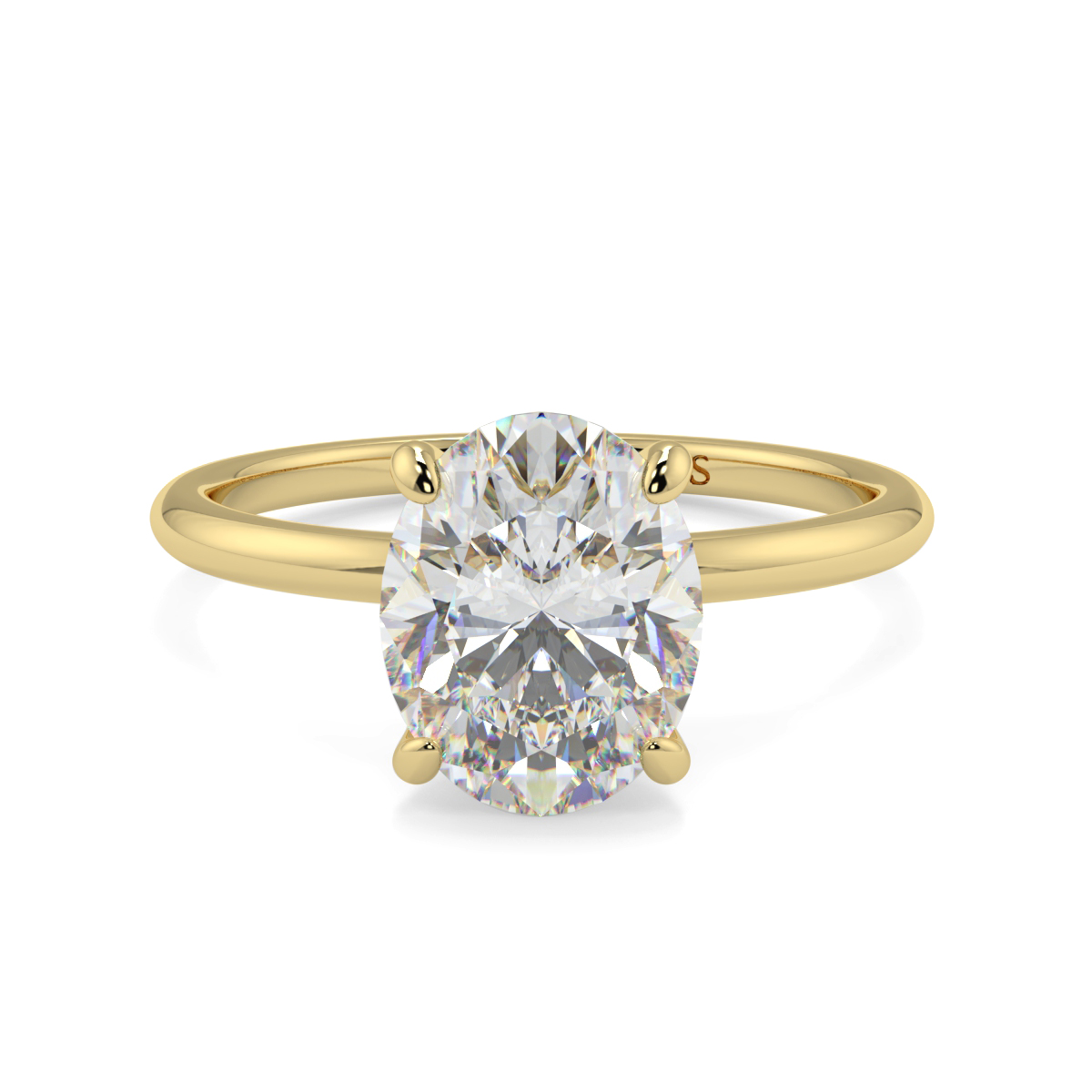 Oval 4 Claw Solitaire Ring