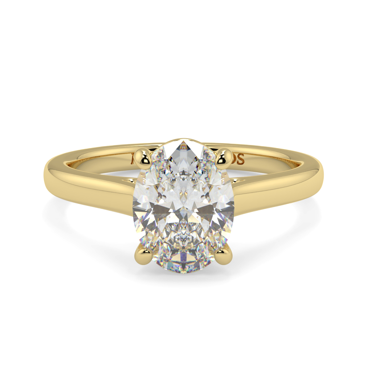 Oval 4 Claw Wed Fit Solitaire Ring