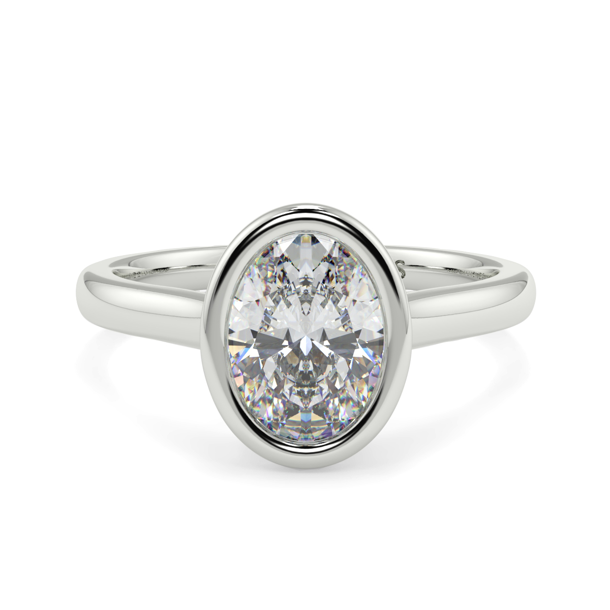 Oval Solitaire Rubover Oval Ring