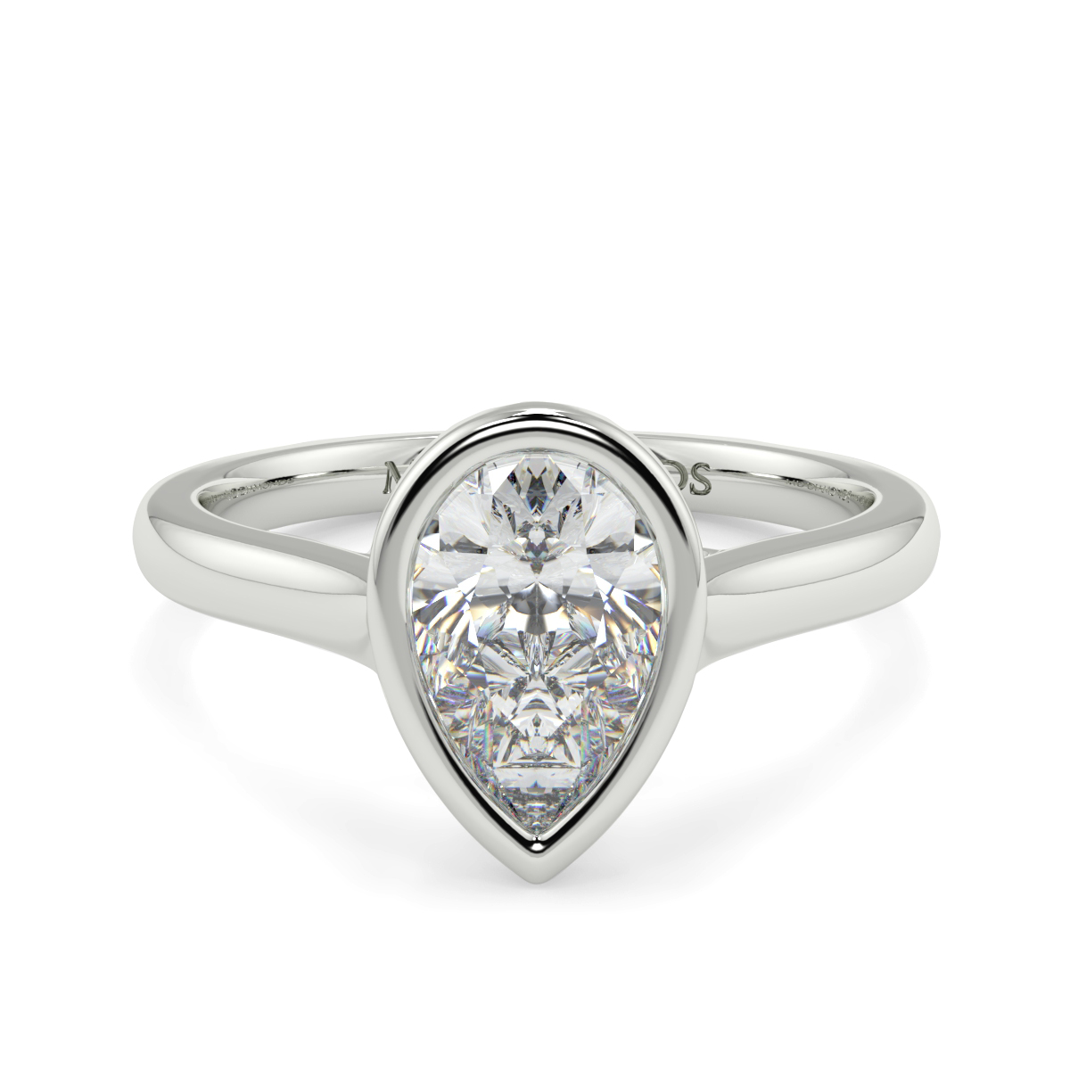 Pear Rubover Solitaire Ring