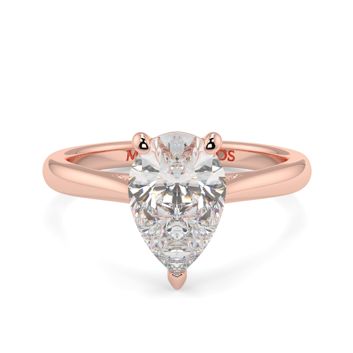 Pear Wed Fit Tappered Solitaire Ring