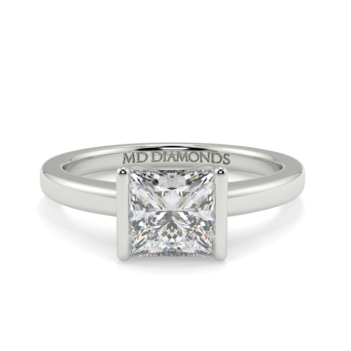 Princess  Half Rubover Solitaire Ring