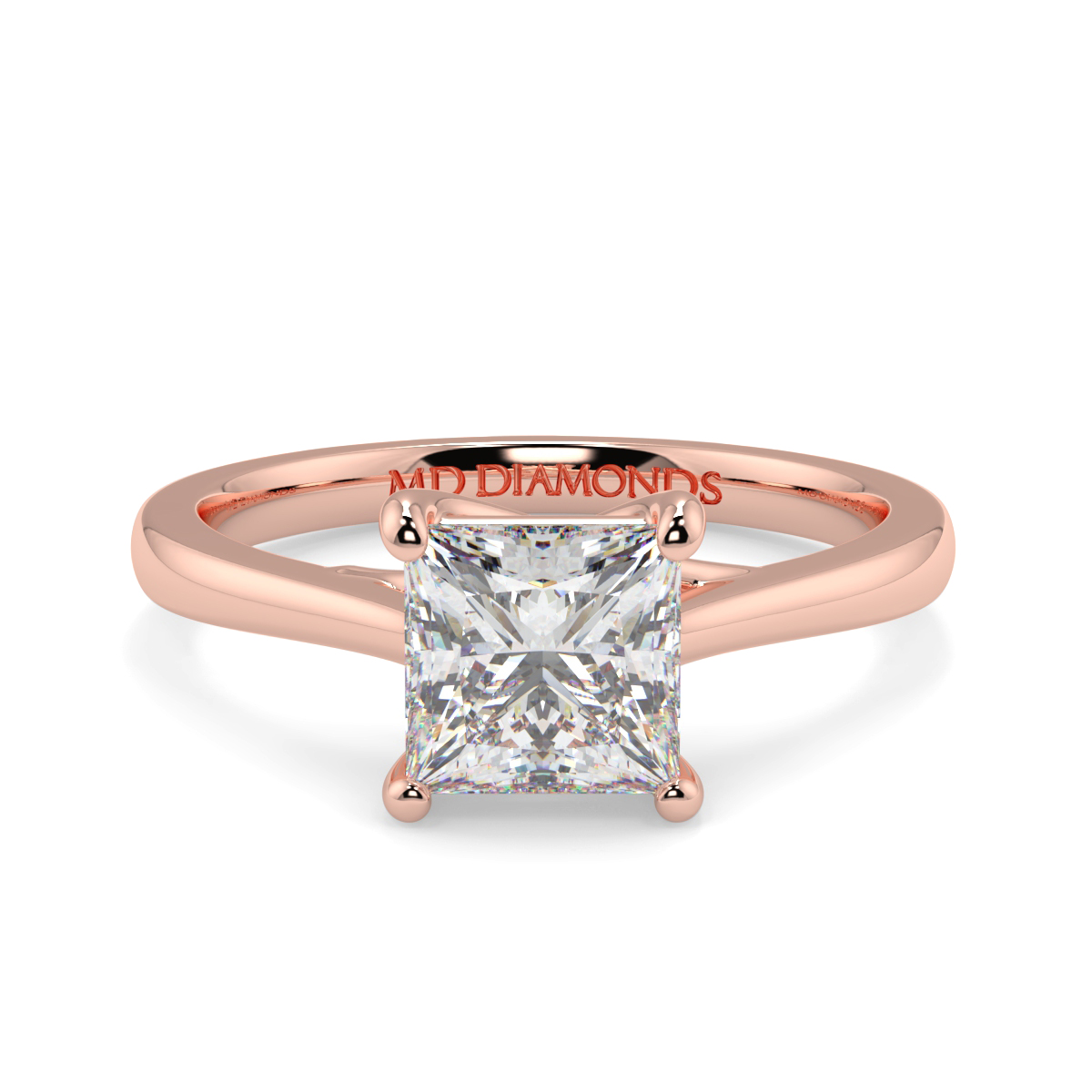 Princess  Tappered Band Solitaire Ring