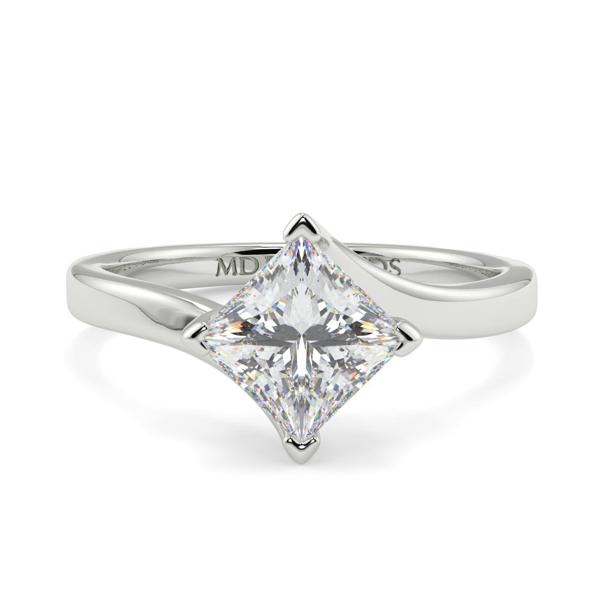 Princess Twist Claw Solitare Ring
