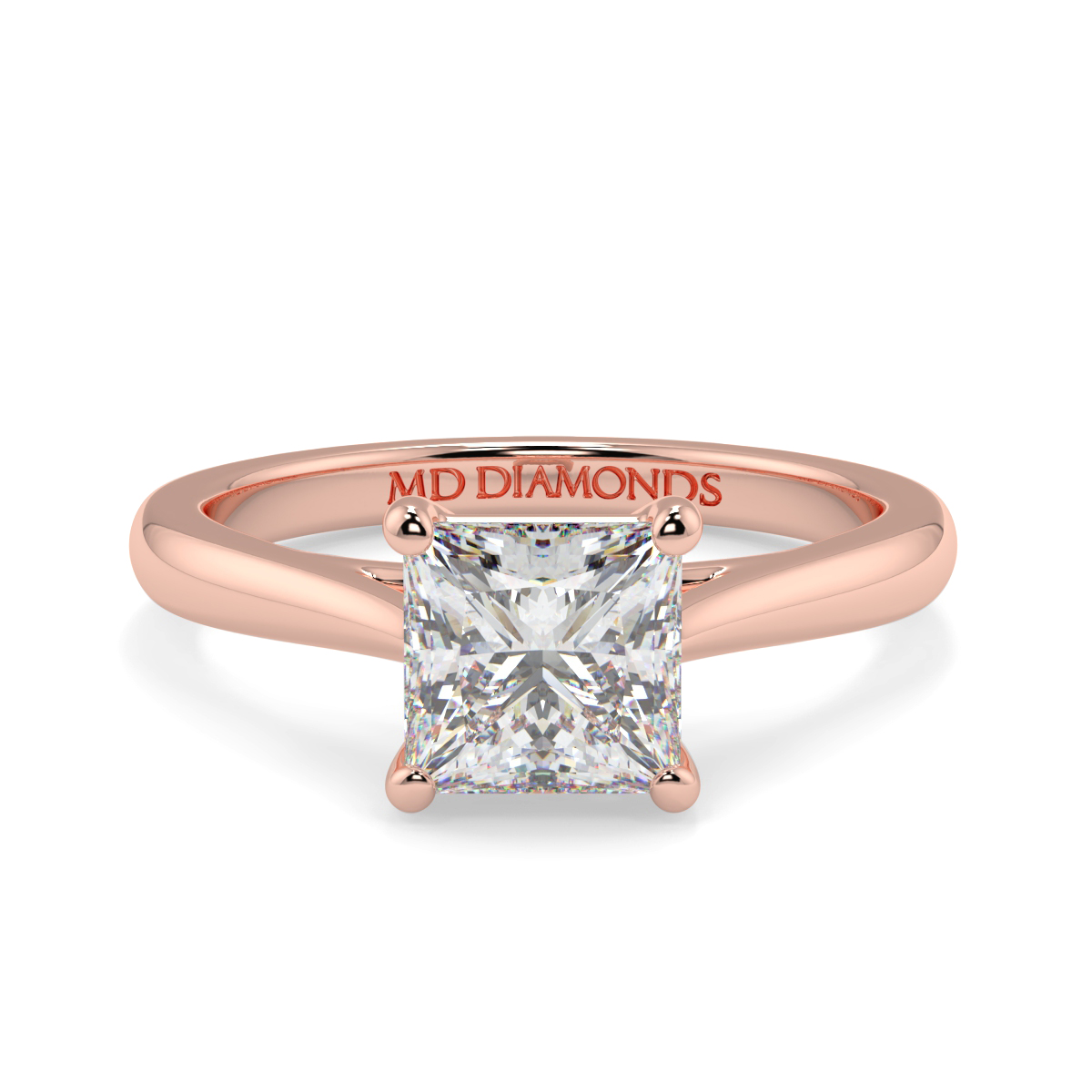 Princess Wed Fit Tappered Solitaire Ring