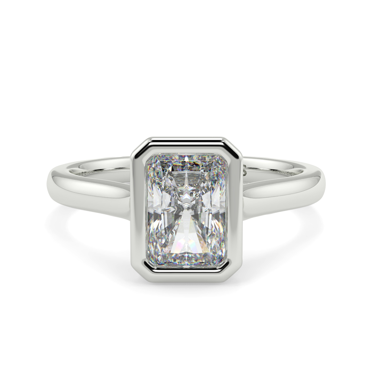 Radiant Rubover Solitaire Ring