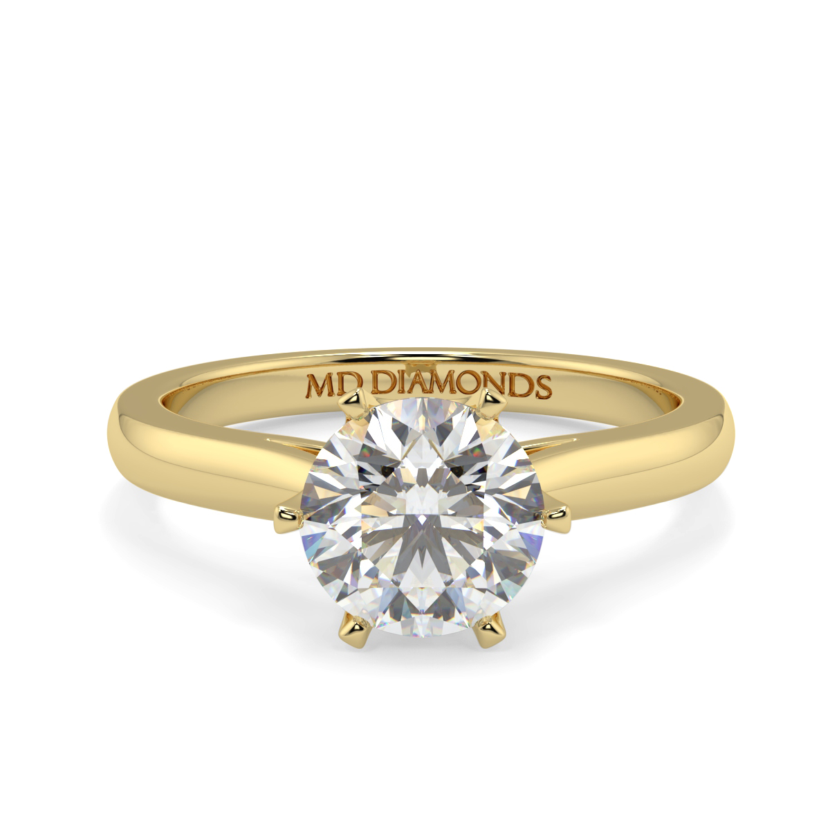 Round 6 Claw Crown Solitaire Ring