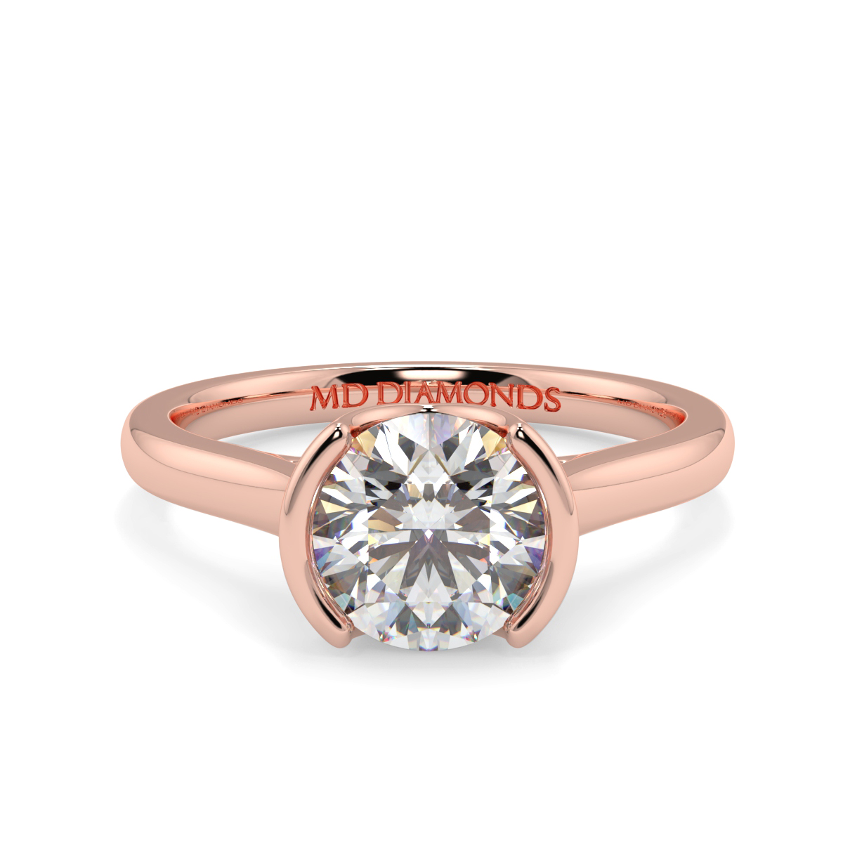 Round Half Rubover Solitaire Ring