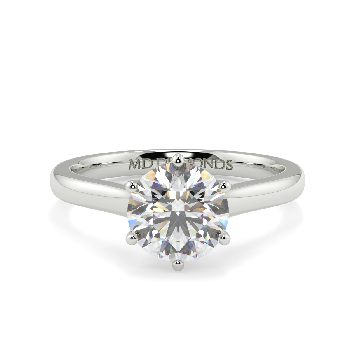 Round Wed Fit 6 Claw Solitaire Ring