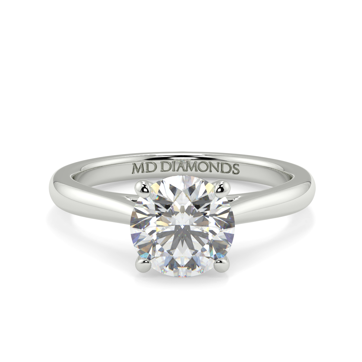 Round Wed Fit Tappered Solitaire Ring