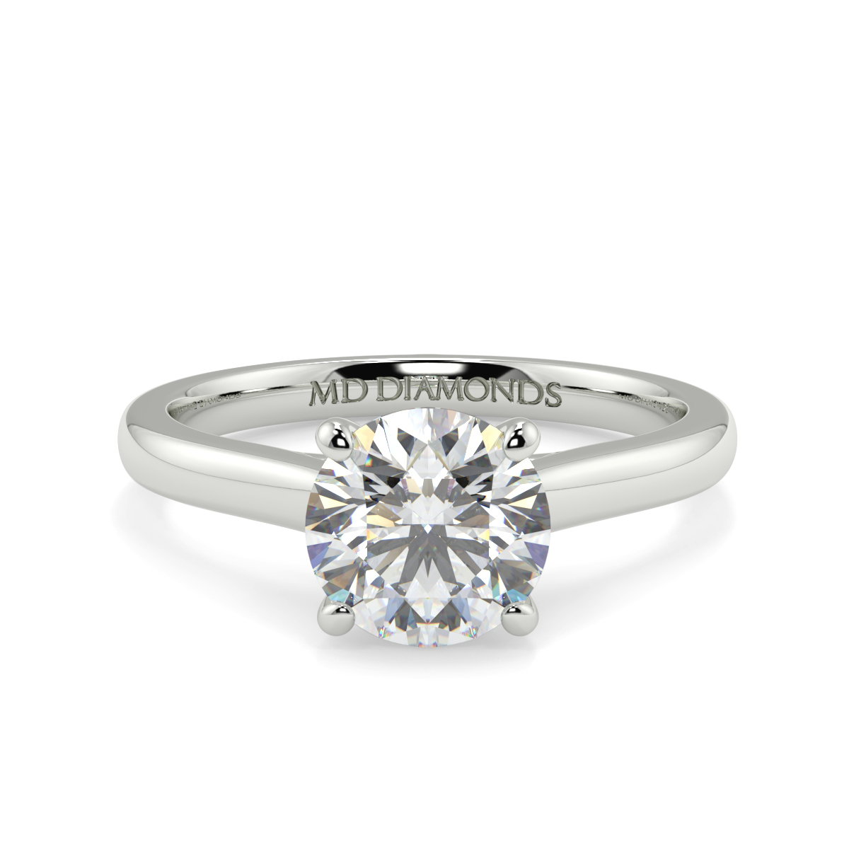 Round Wed Fit Tulip Solitaire Ring