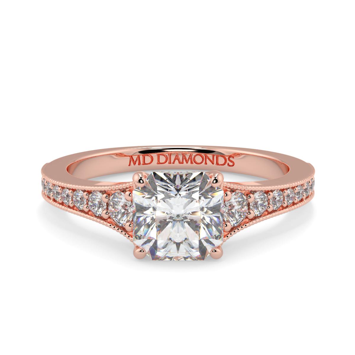 Assher Pave Set Milgrained Diamond Ring