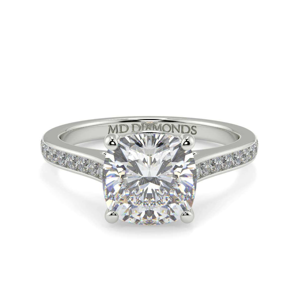 Cushion Channel Set Wed Fit Diamond Ring