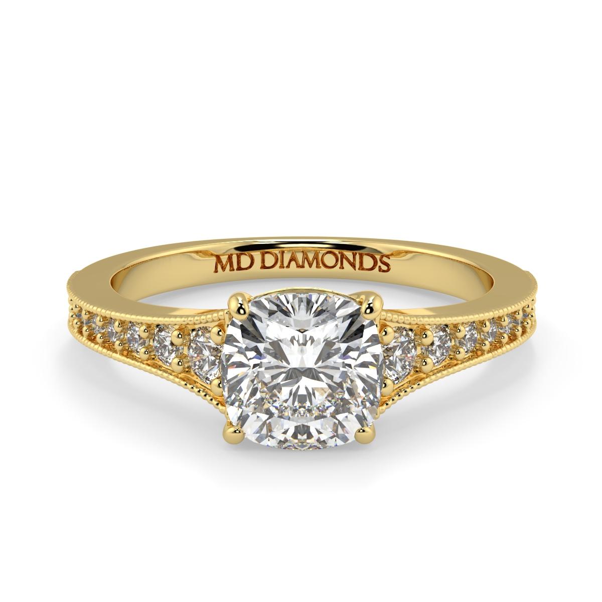 Cushion Pave Grain Set Diamond Ring