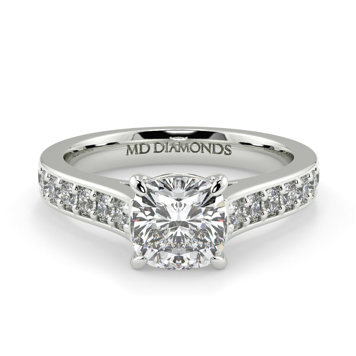 Cushion Pave Set Diamond Ring
