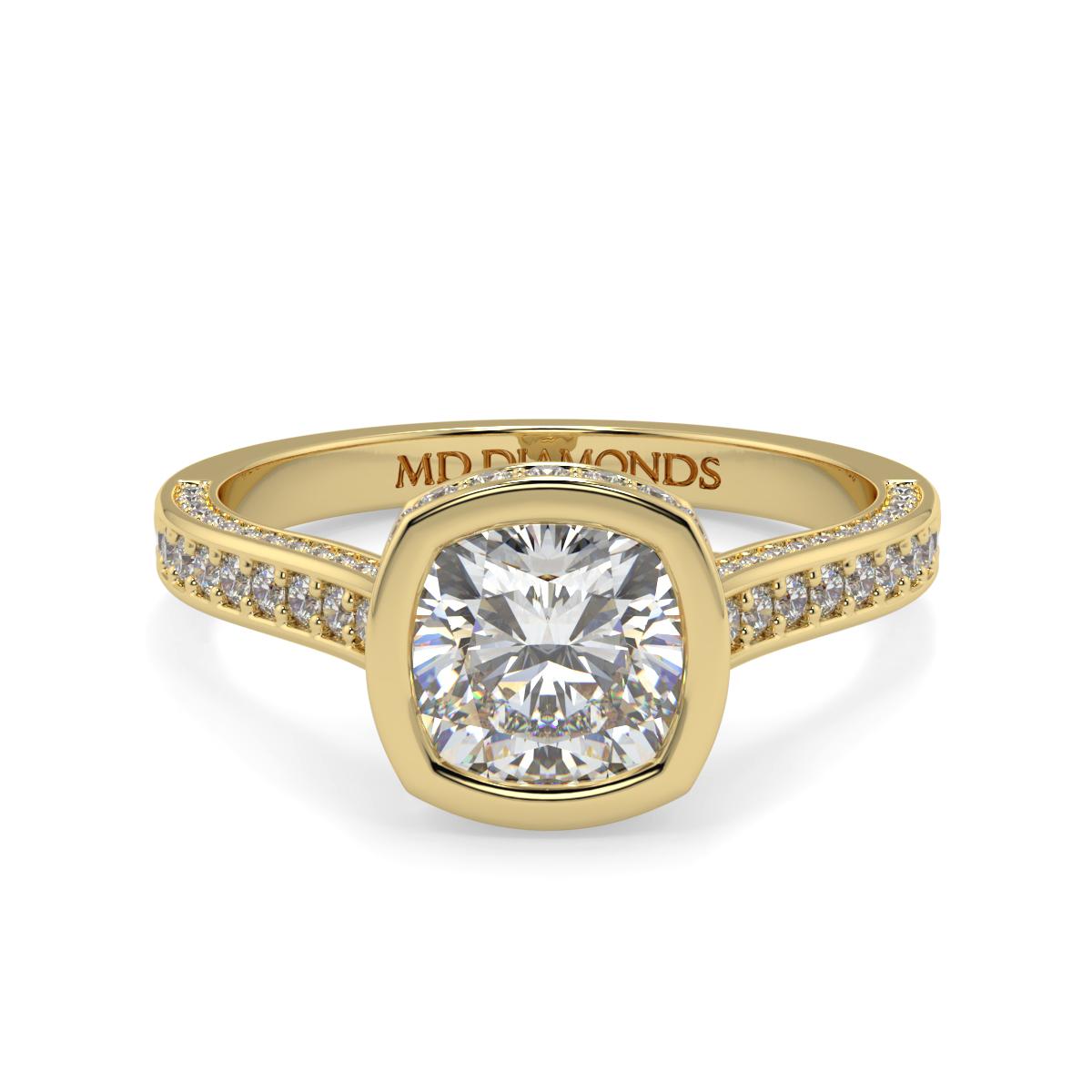 Cushion Rubover  Pave Set Diamond Ring