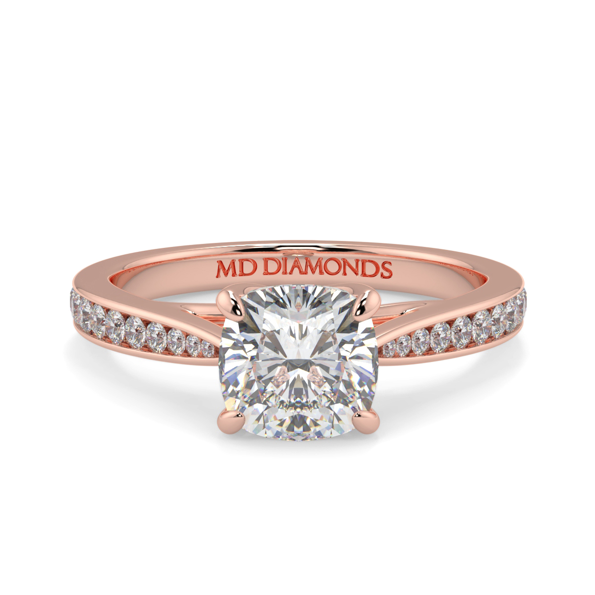 Cushion Tappered Channel Set Diamond Ring