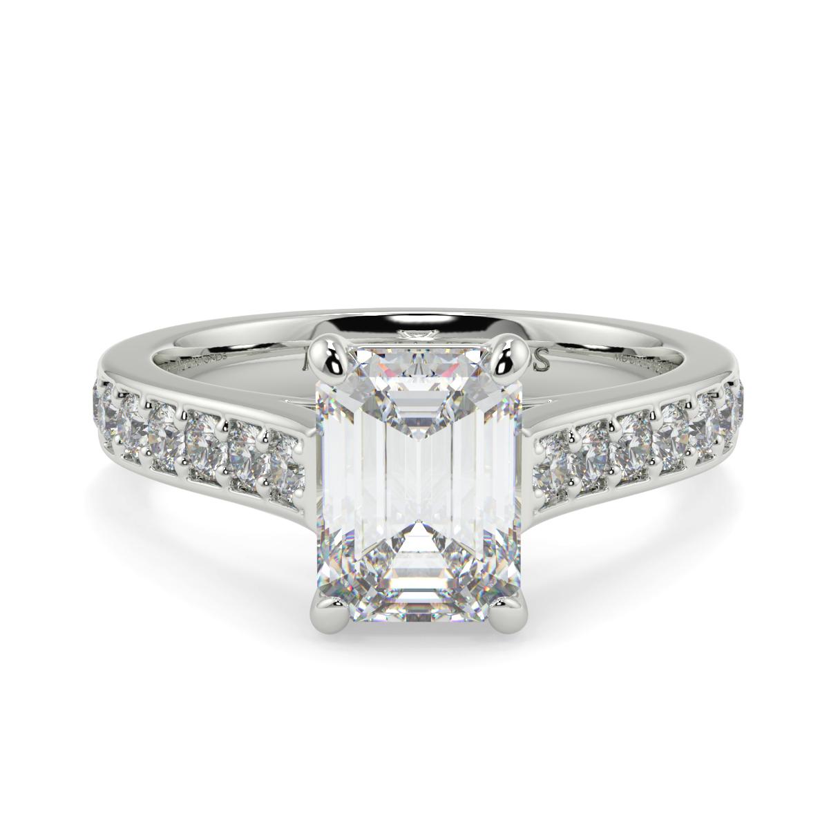 Emerald Cut Pave Set Diamond Ring