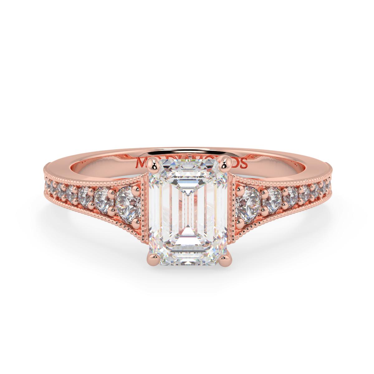 Emerald Pave Grain Set Diamond Ring