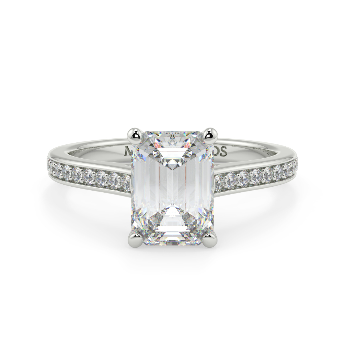 Emerald Pave Set  Wed Fit Diamond Ring
