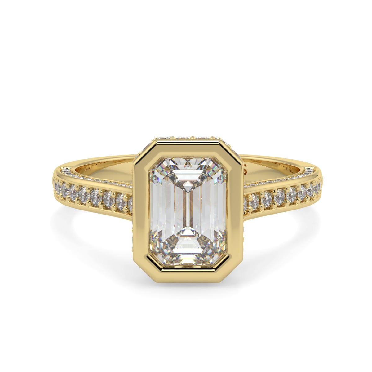 Emerald Rubover  Pave Set Diamond Ring