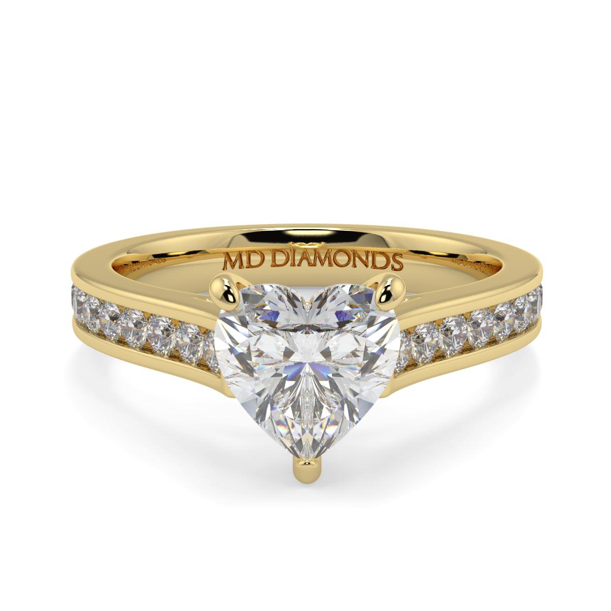 Heart Channel Set Diamond Ring