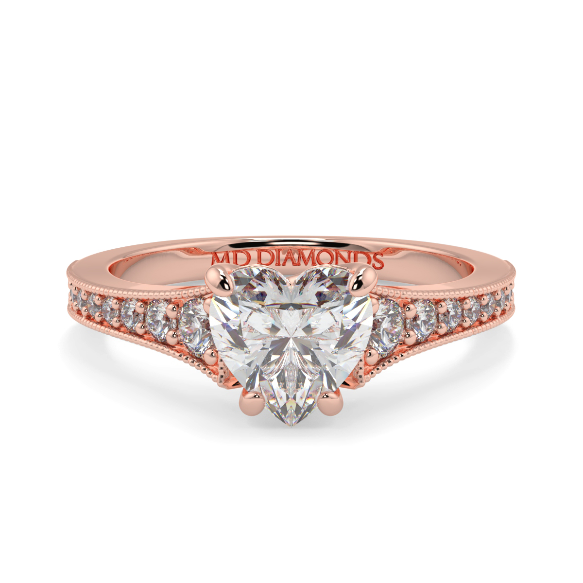 Heart Pave Grain Set Diamnd Ring