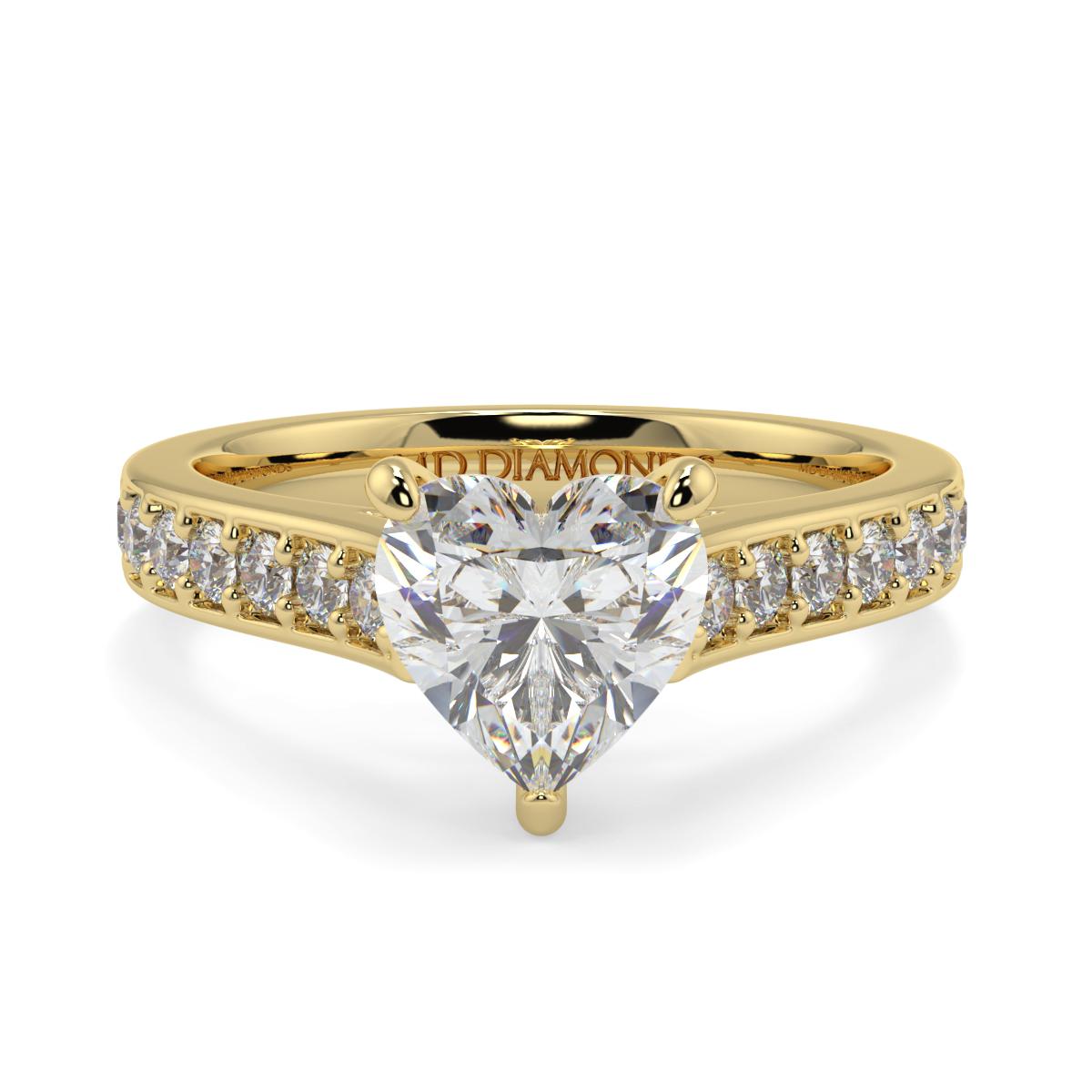 Heart Pave Set Diamond Ring