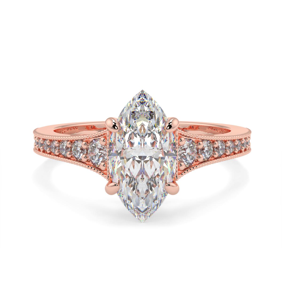 Marquise Pave Grain Set Diamond Ring