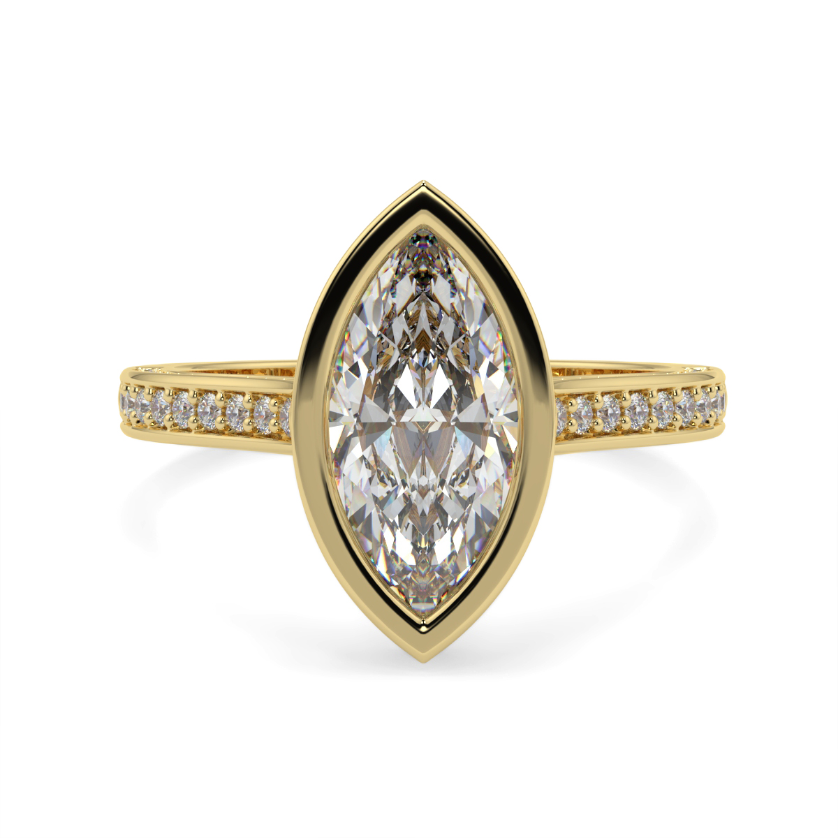 Marquise Pave Set Rubover Diamond Ring