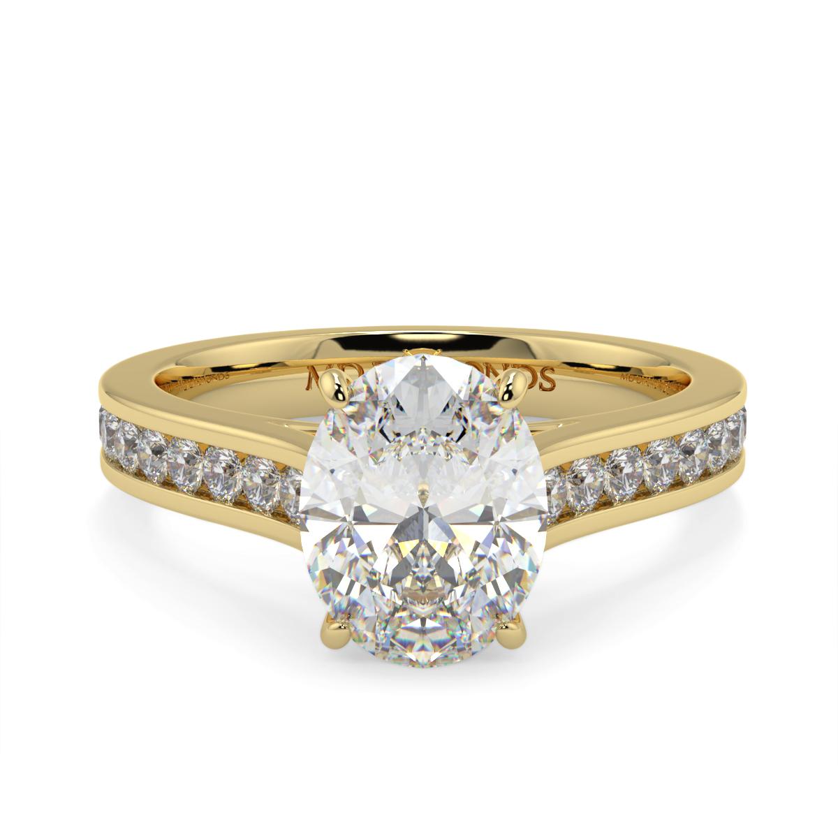Oval Channel Set Diamond Ring