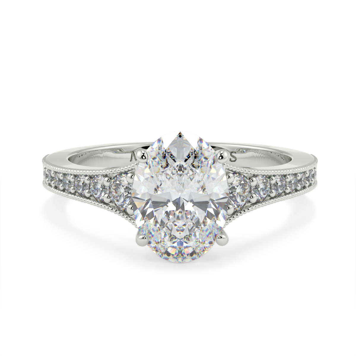 Oval Pave Grain Set Diamond Ring