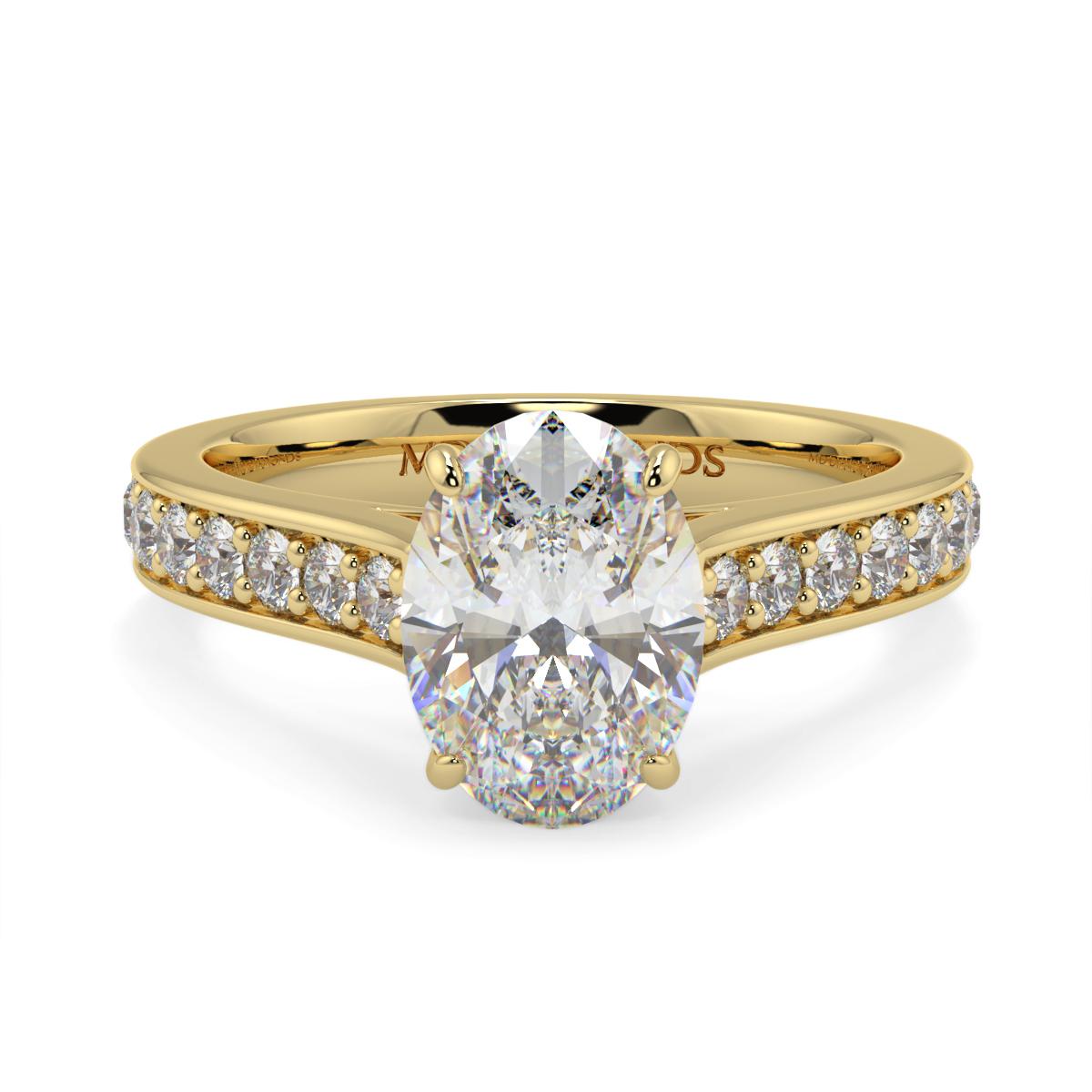 Oval Pave Set Diamond Ring