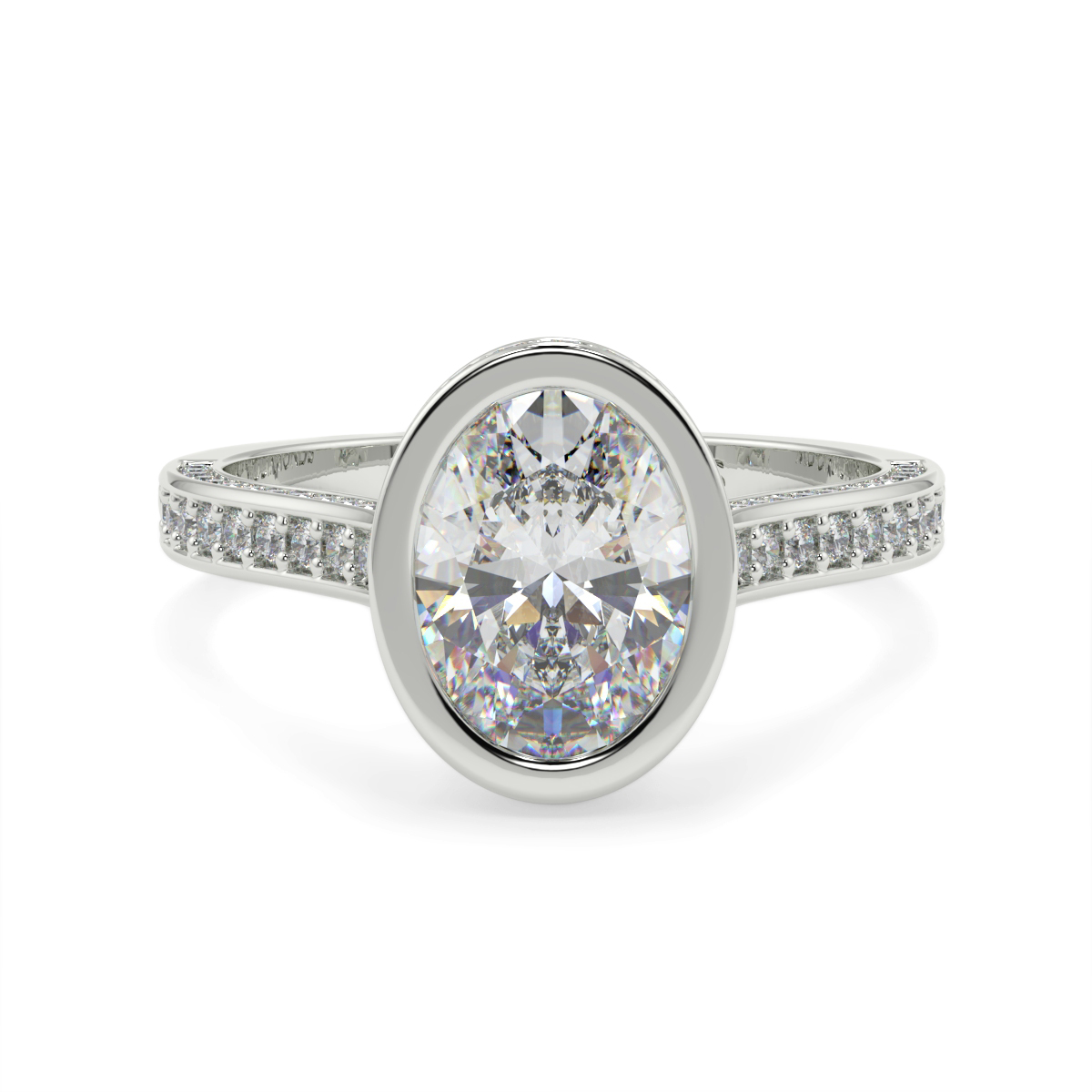 Oval Pave Set Rubover Diamond Ring