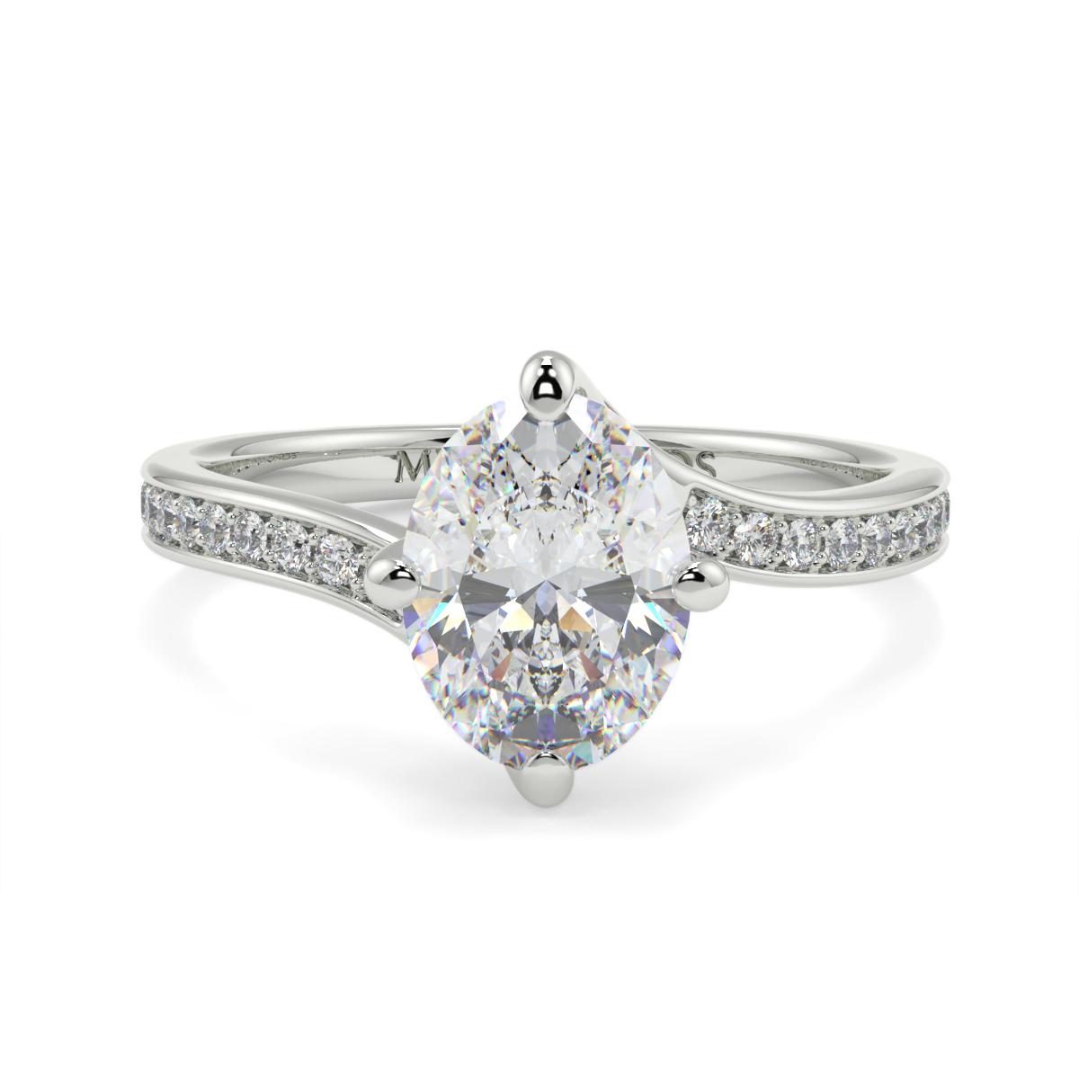Oval Pave Set Twist Diamond Ring