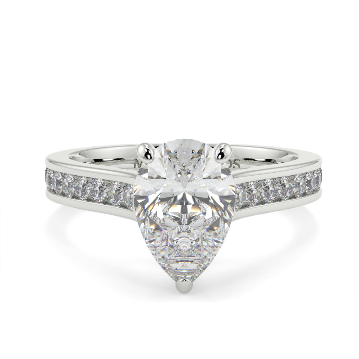Pear Channel Set Diamond Ring