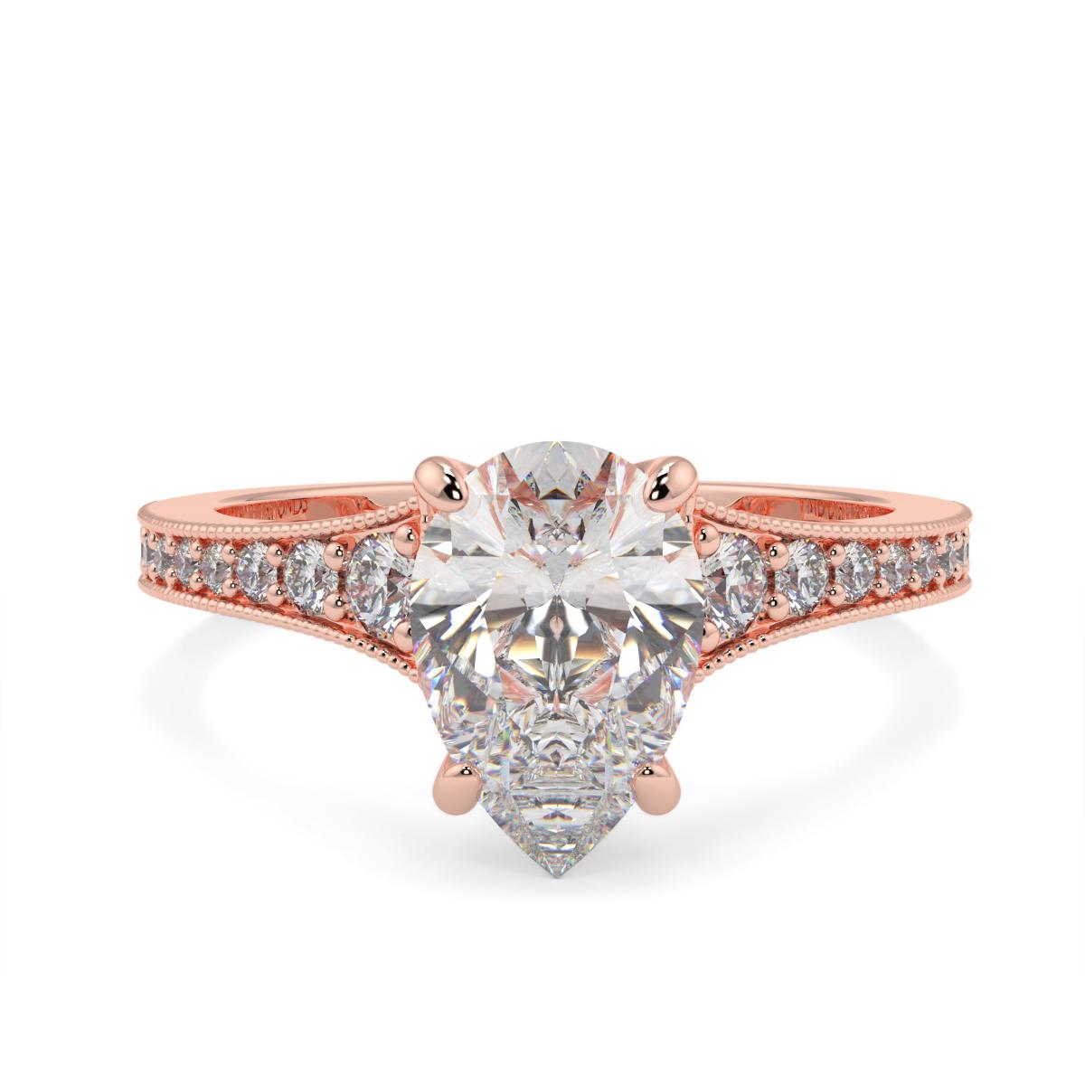 Pear Pave Grain Set Diamond Ring