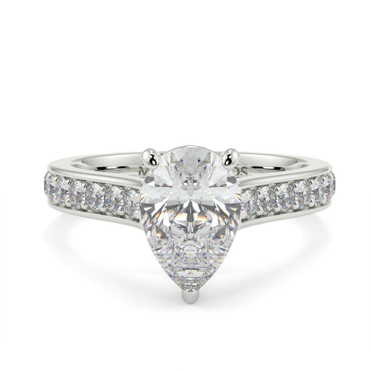 Pear Pave Set Diamond Ring