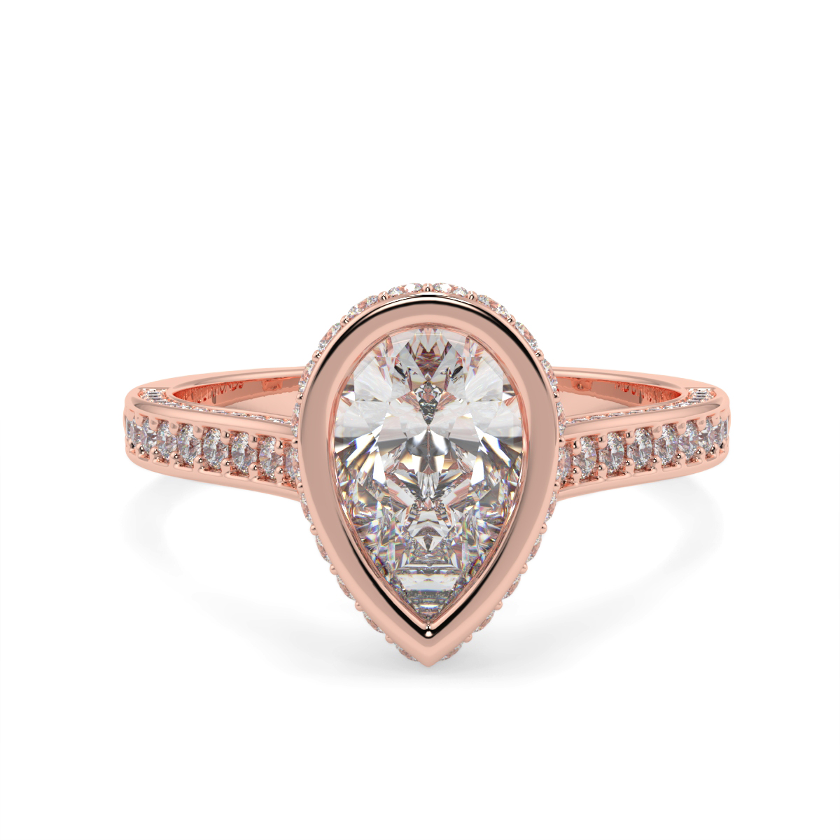 Pear Pave Set Rubover   Diamond Ring