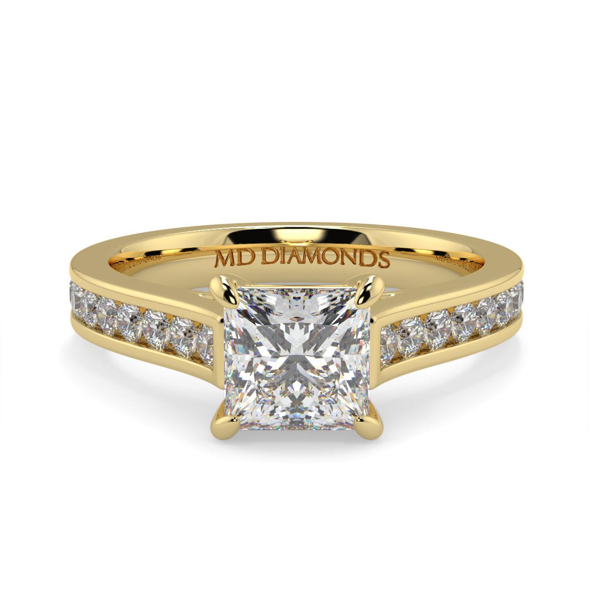 Princess Channel Set Diamond Ring