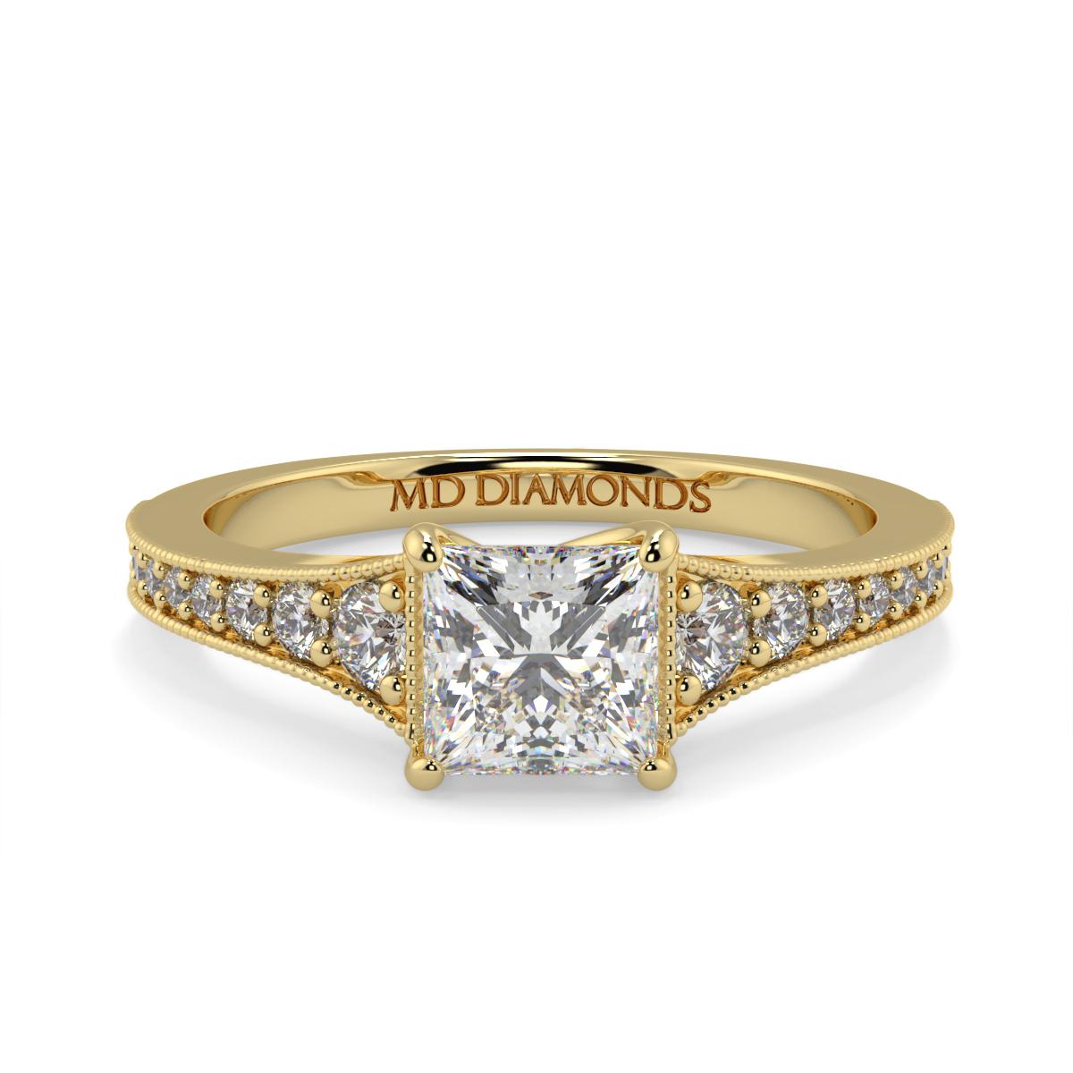 Princess Pave Grain Set Diamond Ring