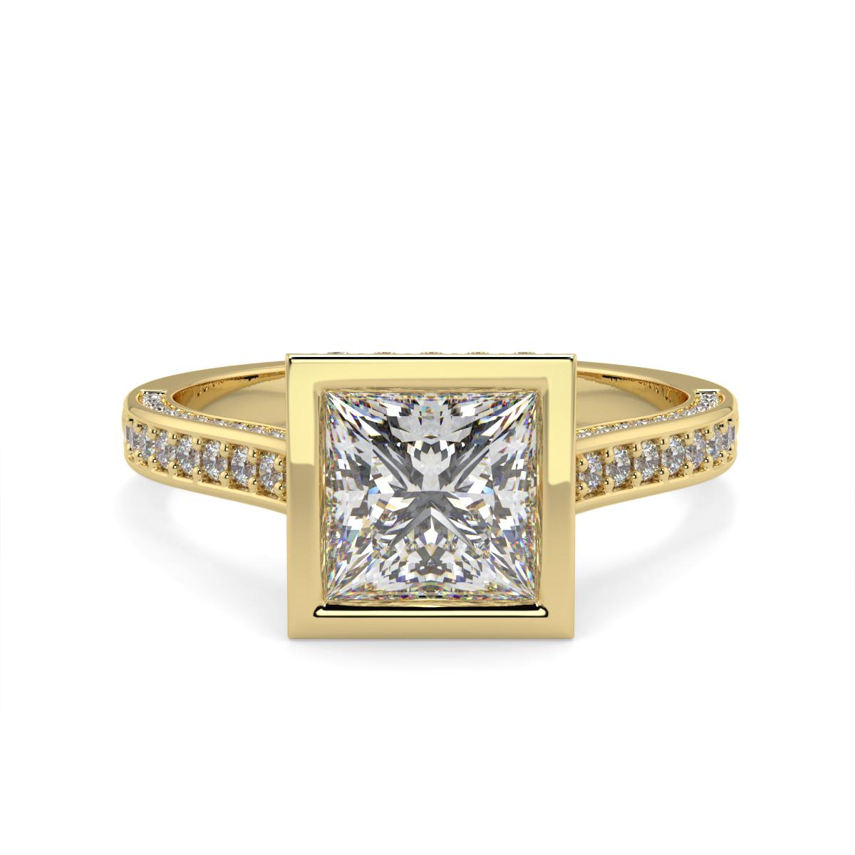 Princess Pave Set Rubover Diamond Ring