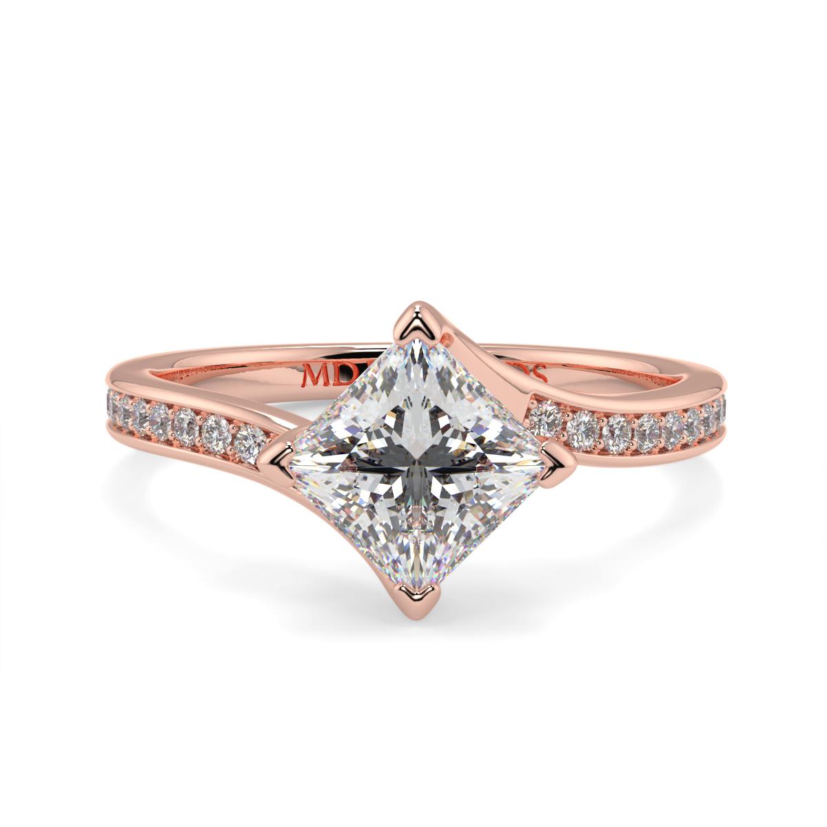 Princess Pave Set Twist Ring