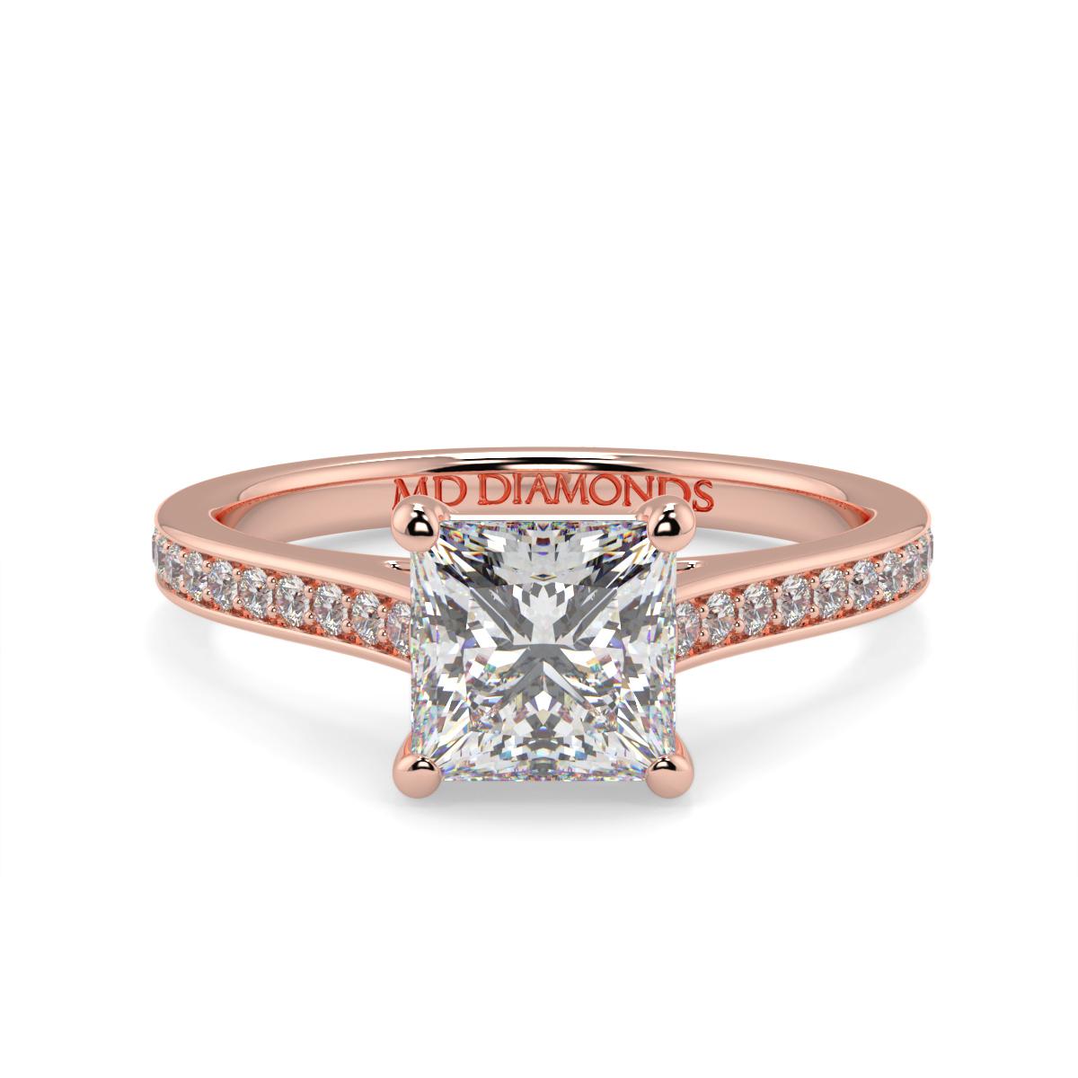Princess Pave Set Wed Fit Diamond Ring